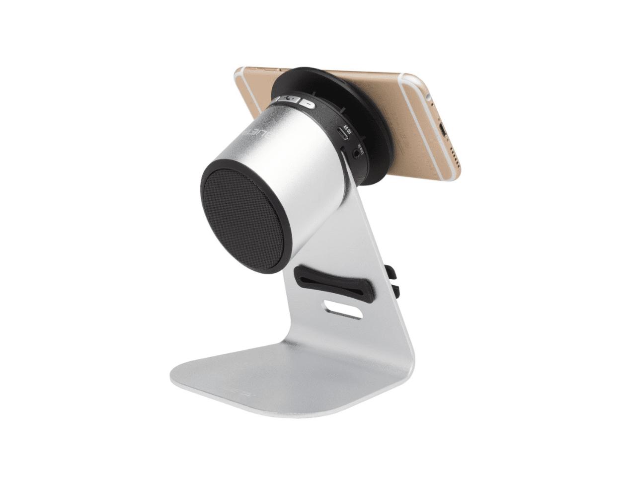 Support universel et haut-parleur pour les tablettes ou les smartphones avec ventouse et enrouleur de câble.